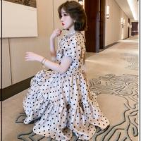 Secret volume flare dot dress(No.302181)
