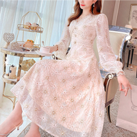 Pearl button long flower lace dress(No.301515)