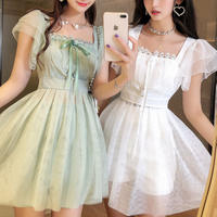 Fairy lace skirt suit setup(No.301254)【black , white , mint】