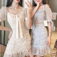 Fairy blink lacy ribbon dress(No.301371)【2color】