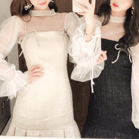 Tulle blouse & double bijou ribbon dress(No.301523)【2color】