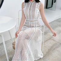 Lady white cutting lace long dress(No.301455)
