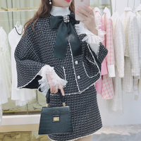 Snow brooch check tweed cape setup(No.301676)【white , black】