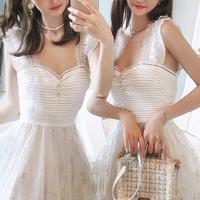 Shoulder frill tulle docking dress(No.301426)