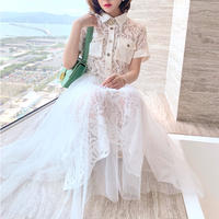Half sleeve lace tulle docking dress(No.301224)【white , black】