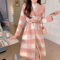 Melton check over silhouette dress coat(No.030951)【pink】