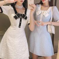 Waffle lace bijou ribbon brooch dress(No.301390)【2color】