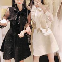 Ruffle frill tweed dress(No.300773)【3color】