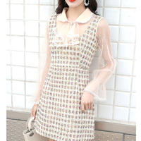 Star button vintage tweed dress(No.300946)
