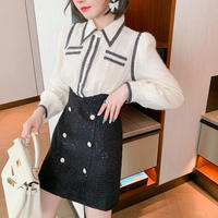 High waist tweed docking dress(No.301801)