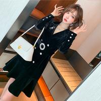 Bijou buckle velour dress coat(No.301688)