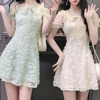 Fairy lace ribbon tie dress(No.301087)【2color】