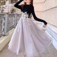 一部即納❤︎Two-tone cutting flower tulle dress(No.301012)