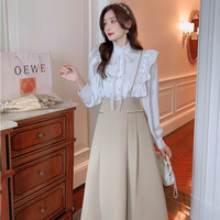 Milk tea bouse & long skirt set(No.030934)
