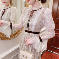 Elegant crochet lacy long dress(No.301788)