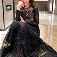 Classy black dot tulle long dress(No.300945)