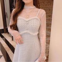 Snowy fur line check tweed dress(No.031009)
