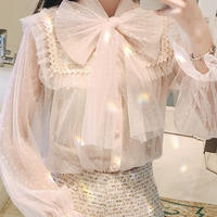 Star tulle ribbon blouse(No.300777)【3color】