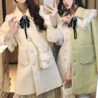 Cutting lace collar ribbon coat(No.300901)【2color】