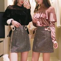 一部即納♡velour frill tops & tweed skirt set(No.300538)