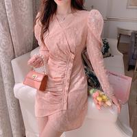Peach pink lady like puff sleeve dress(No.302090)