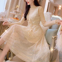 Creamy lace long dress & knit set(No.300895)