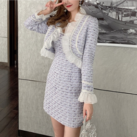 Creamy purple tweed dress / jacket(No.301571)