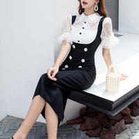 Mermaid line frill blouse dress(No.301189)