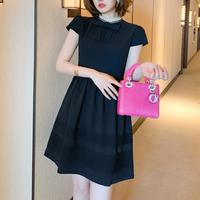 Simple lady ribbon black dress(No.301468)