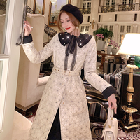 Bijou collar quilting long dress coat(No.301818)
