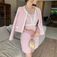 Chidori honey pink tweed setup(No.301656)