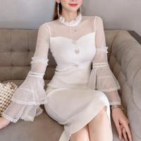 Ruffle tulle tight midi dress(No.301562)【black , white】
