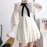 Ribbon tie fairy dot tulle dress(No.301937)【black , off-white】