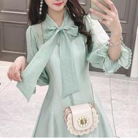 Ribbon tie shirt dress(No.301074)【mint , white】