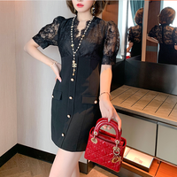 Lady tulle docking black dress(No.301436)