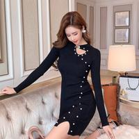 Design cutting body line knit dress(No.302003)【black】