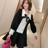 Monotone tweed ribbon brooch dress(No.301935)