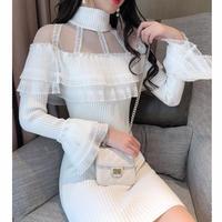 Shoulder lacy knit dress(No.300947)【2color】