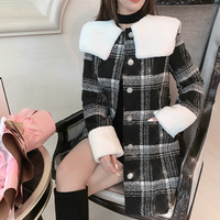 Melty check eco-fur collar coat(No.301812)【white , black】