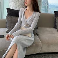Décolleté cross tight long knit dress(No.301796)