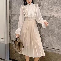 Bijjou shoulder long skirt &blouse set(No.300863)