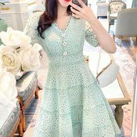 Ice mint flower button dress(No.300694)