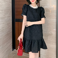 Simple lady pearl round dress(No.301383)【white , black】
