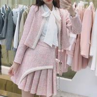 Pearl bijou line pink tweed setup(No.301590)
