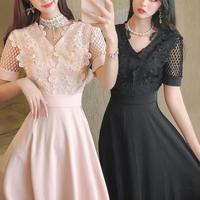 一部即納♡Point pearl cutting flower dress(No.301393)【2color】