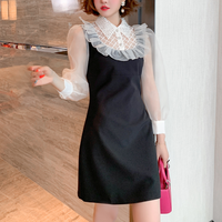 Lady made bijou collar dress(No.301592)【white , black】