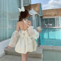 Back fairy tulle ribbon occasion mini dress(No.302146)