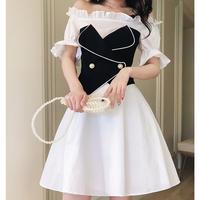 Vest A-line off-shoulder dress(No.300462)
