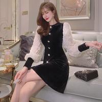 Bijou button lady velour dress(No.301857)