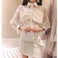 Lady ribbon blouse & frill skirt(No.300723)